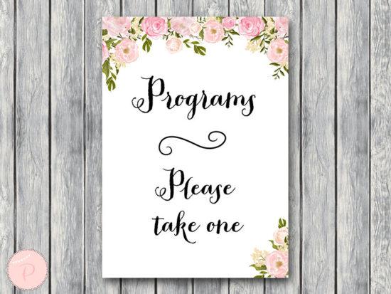 WD67-P-Wedding programs sign, Printable Program Sign
