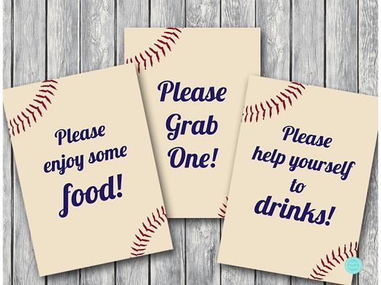 baseballl bridal shower decoration signs, baseball baby shower signs