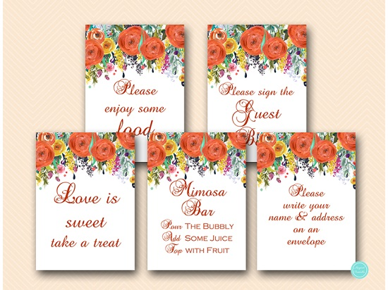 Autumn Fall Bridal Baby Shower Decor Signs Printabell Express