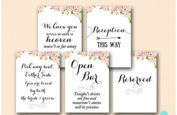 pink peonies wedding decoration signs printable