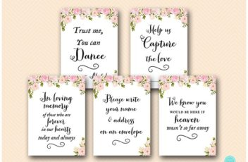 pink peonies wedding decoration signs printable wd67