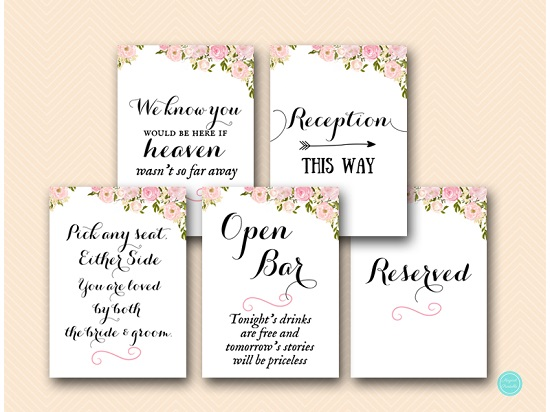 pink peonies wedding decoration signs printable