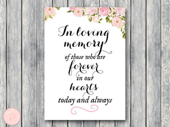 wd67 carolyna In Loving Memory Wedding Sign, In Loving Memory Sign