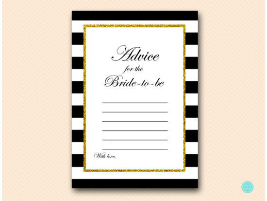 BS61-advice-for-bride-card-sign-black-stripes-gold-bridal-shower-card