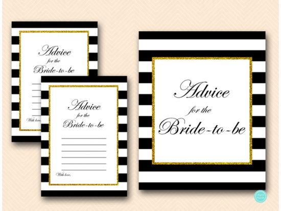 BS61-advice-for-bride-card-sign-black-stripes-gold-bridal-shower-cards