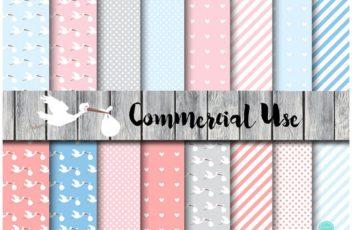 stork-digital-papers-stork-baby-shower-pink-stork-blue-stork-instant-download-digital-paper
