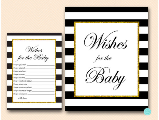 TLC442-wishes-for-baby-sign-gold-black-baby-shower-activities