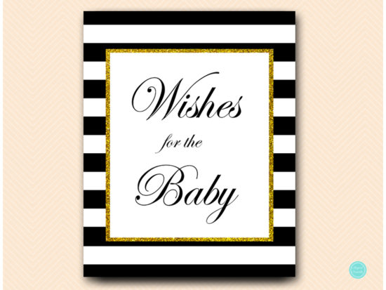 TLC442-wishes-for-baby-sign-gold-black-baby-shower-game