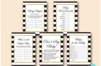 black stripes gold baby shower game package printable download tlc442