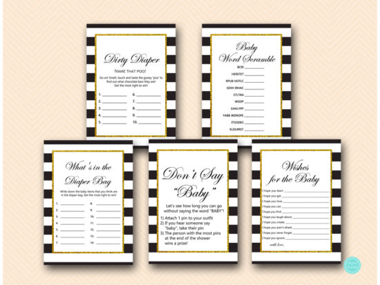 black stripes gold baby shower game package printable download tlc442
