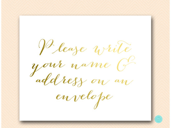 sn38 gold write your name and address on an envelope