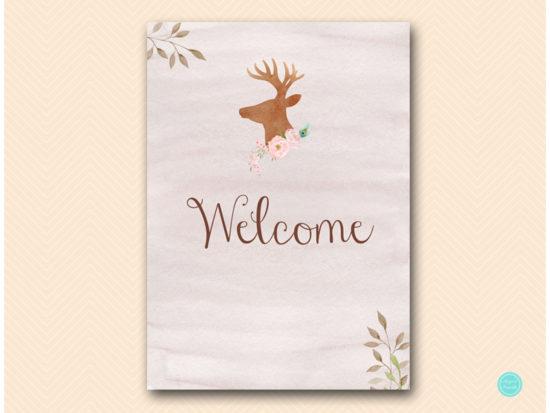 sn461-sign-welcome-deer-antler-woodland-bridal-shower