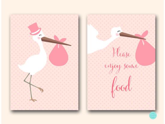 tlc458p-sign-enjoy-some-food-pink-girl-stork-baby-shower-game