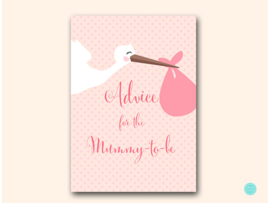 tlc458p-advice-for-mummy-sign-5x7-pink-girl-stork-baby-shower-game