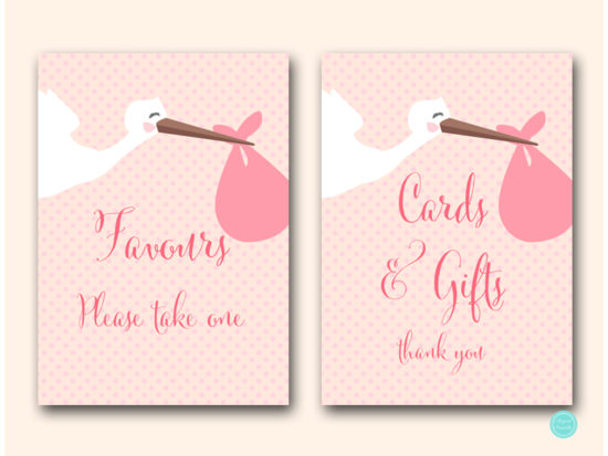 tlc458p-sign-cards-gifts-pink-girl-stork-baby-shower-game