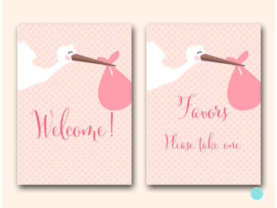 tlc458p-sign-welcome-pink-girl-stork-baby-shower-game