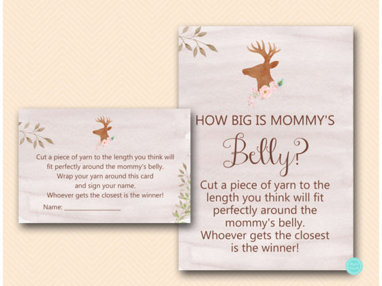 tlc461-how-big-is-mommys-belly-deer-antler-woodland-baby-shower