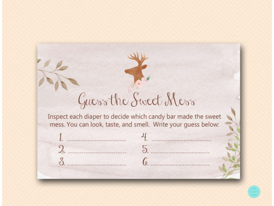 tlc461-sweet-mess-card-6x4-deer-antler-woodland-baby-shower