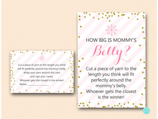 tlc464-how-big-is-mommys-belly-sign-pink-gold-winter-baby-shower-game