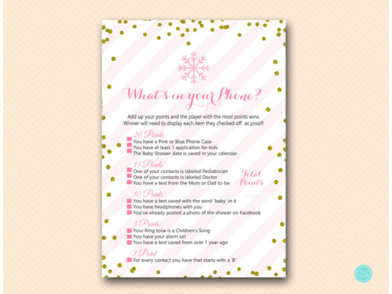 tlc464-whats-in-your-phone-pink-gold-winter-baby-shower-game