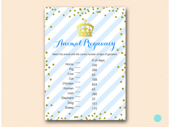 Royal Prince Gold Baby Shower Game Package Printabell Express