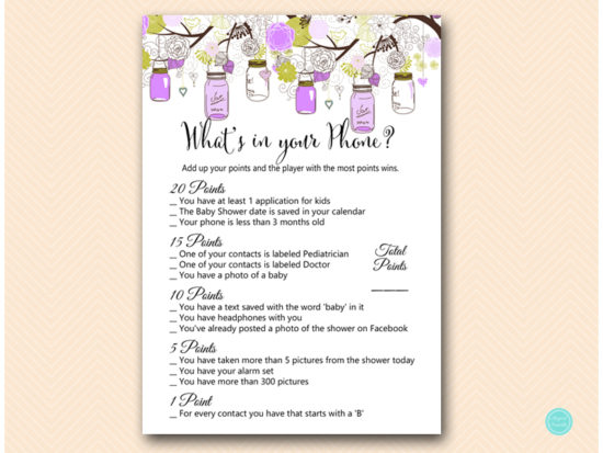 tlc475-whats-in-your-phone-purple-mason-jars-baby-shower-game