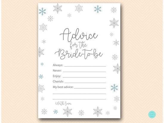 bs491 advice for bride card glitter snowflake winter
