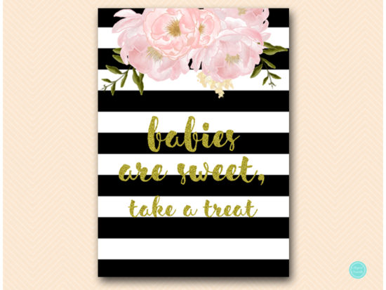 sn390-babies-are-sweet-take-treat-black-gold-floral-decoration-sign-printable