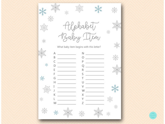 tlc491-alphabet-baby-items-glitter-snowflake-winter-baby-shower-game
