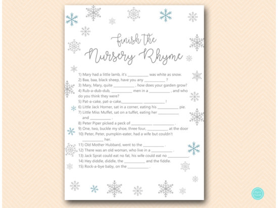 tlc491-nursery-rhyme-finish-glitter-snowflake-winter-baby-shower-game