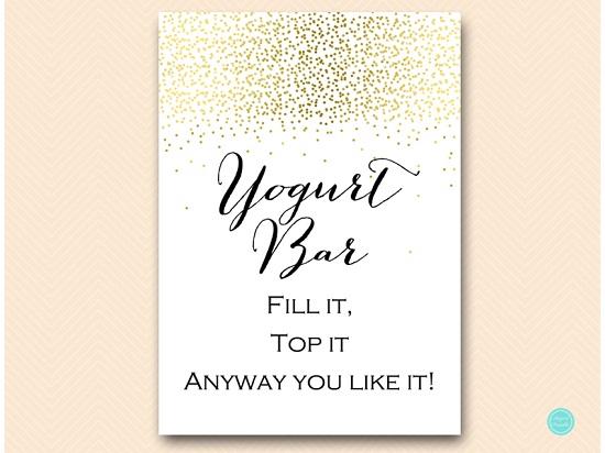gold confetti yogurt bar sign