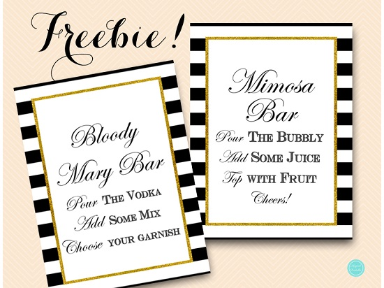 picture about Mimosa Bar Sign Printable named Cost-free Printable Mimosa and Bloody Mary Bar Symptoms Printabell