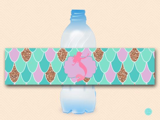 sn516-water-bottle-label-mermaid-baby-shower-labels