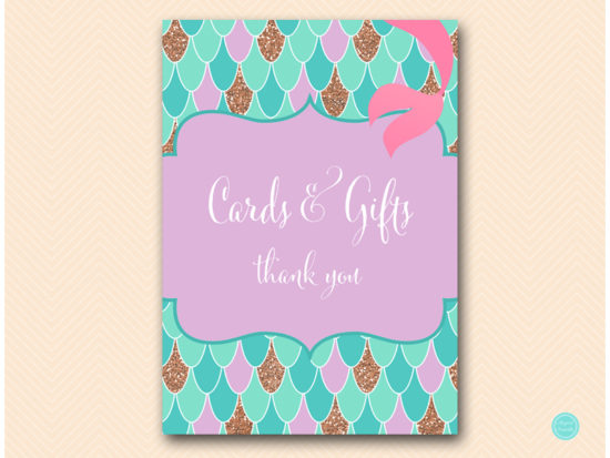 sn516-sign-cards-gifts-mermaid-party-themed-signs