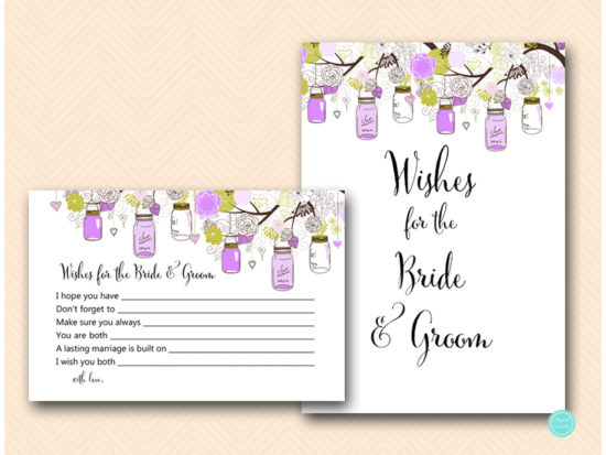 tlc475-wishes-for-bride-and-groom-sign-purple-mason-jars-bridal-shower