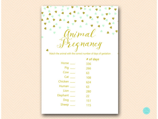 tlc488m-animal-pregnancy-gestation-mint-gold-baby-shower-game