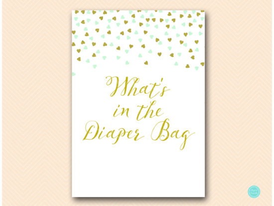 tlc488m-whats-in-diaper-bag-sign-mint-gold-baby-shower-game