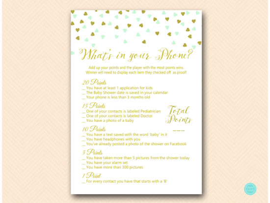 tlc488m-whats-in-your-phone-baby-mint-gold-baby-shower-game