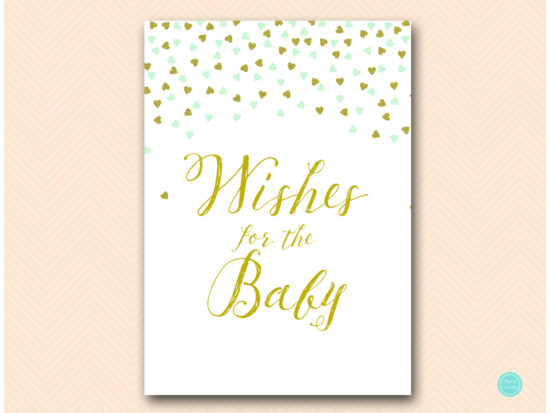 tlc488m-wishes-for-baby-card-mint-gold-baby-shower-game
