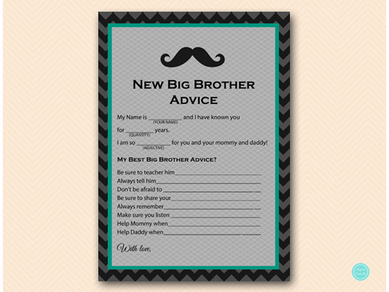 Advice For Big Brother Baby Shower Printabell Express