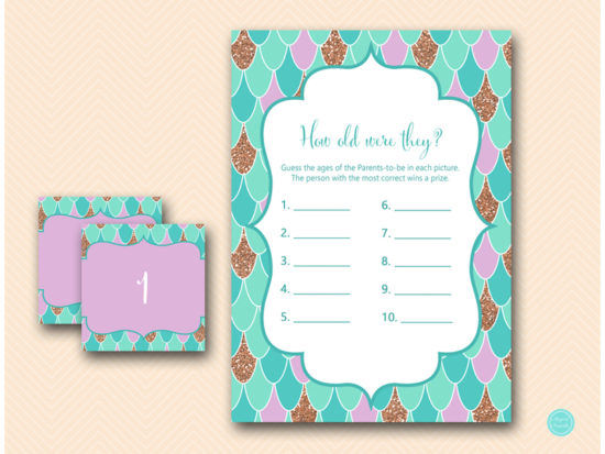 Mermaid Baby Shower Game Package Printabell Express