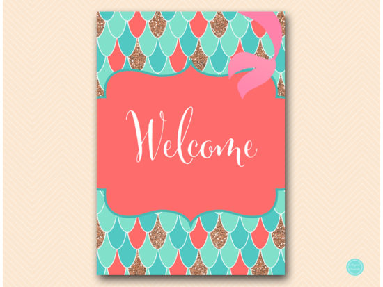 sn516c-welcome-sign-coral-mermaid-decoration-signs