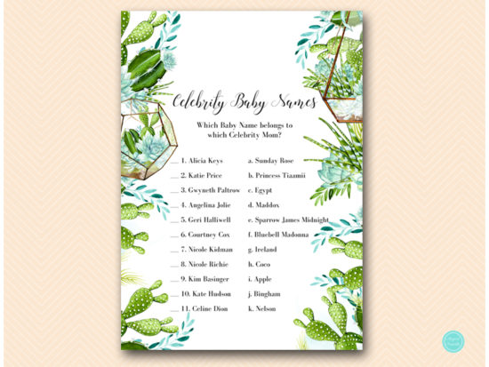 tlc519 celebrity baby names succulent baby shower game