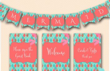 coral-mermaid-baby-shower-signs-mermaid-banner-labels5