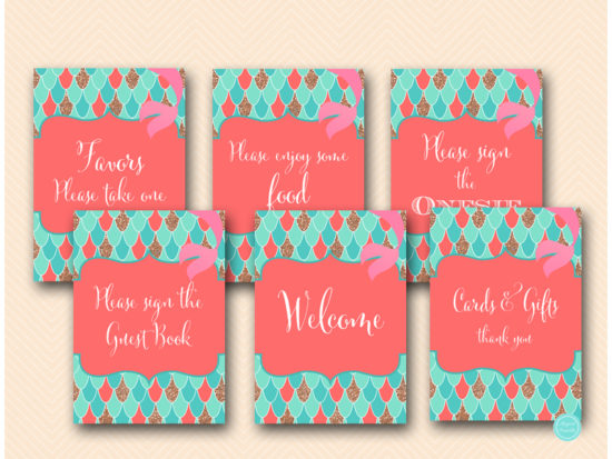 coral-mermaid-baby-shower-decoration-signs-sn516c