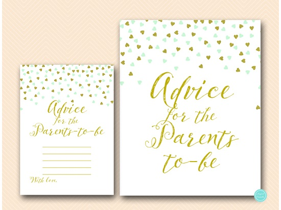 Mint Gold Baby Shower Advice For Parents To Be Printabell Express