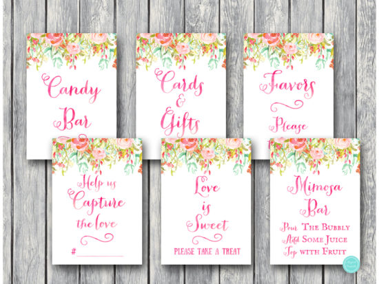pretty-pink-bridal-shower-decoration-signs