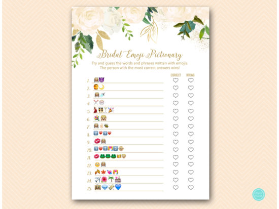 photograph about Wedding Emoji Pictionary Free Printable called Gold and Bluff Bridal Shower Pursuits Video games
