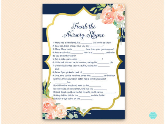Navy Stripes Gold Floral Baby Shower Game Pack Printabell Express