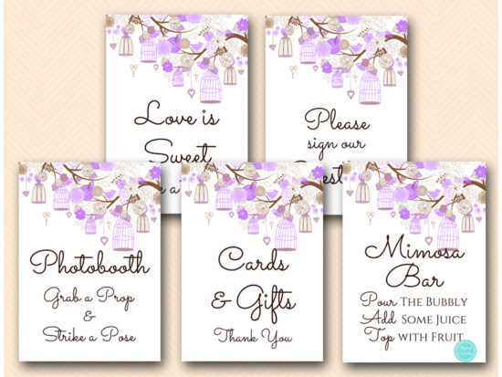 purple-wedding-love-bird-cage-bridal-shower-decoration-signs-mimosa